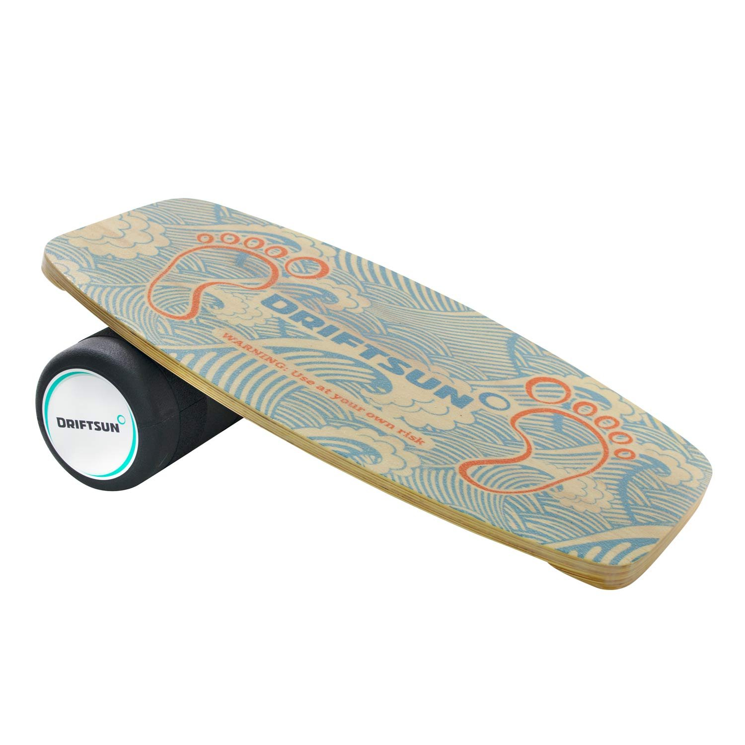 Driftsun Wooden Balance Board - Premium Balance Trainer with Roller for Surf, SUP, Wakesurf, Wakeskate, Ski, Snowboard and Skateboarding.