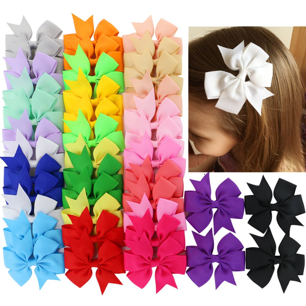 40Piece Boutique Grosgrain Ribbon Pinwheel Hair Bows Alligator Clips For Girls Babies Toddlers Teens Gifts In Pairs by Babymatch