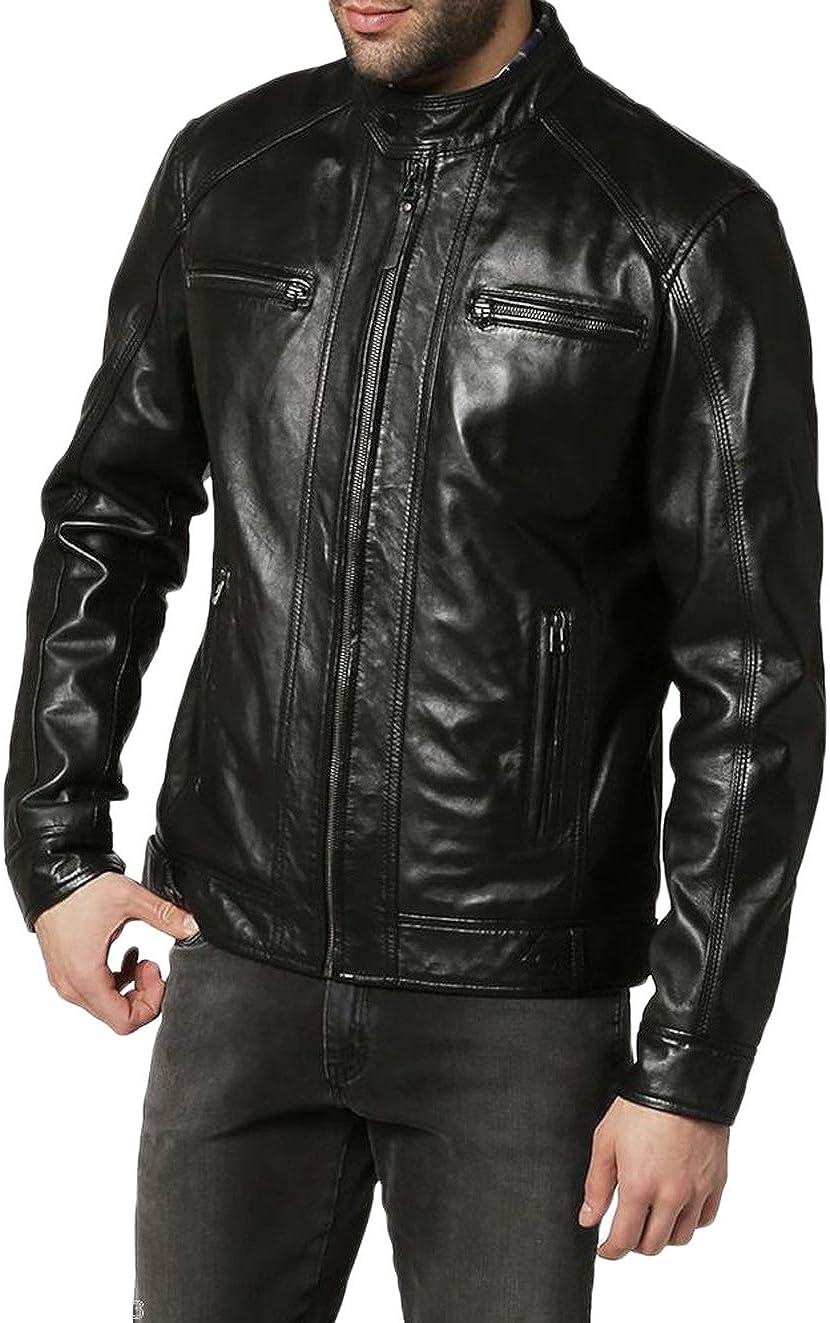 Men Slim Fit Biker Motorcycle Lambskin Leather Jacket Coat Outwear Jackets T1218