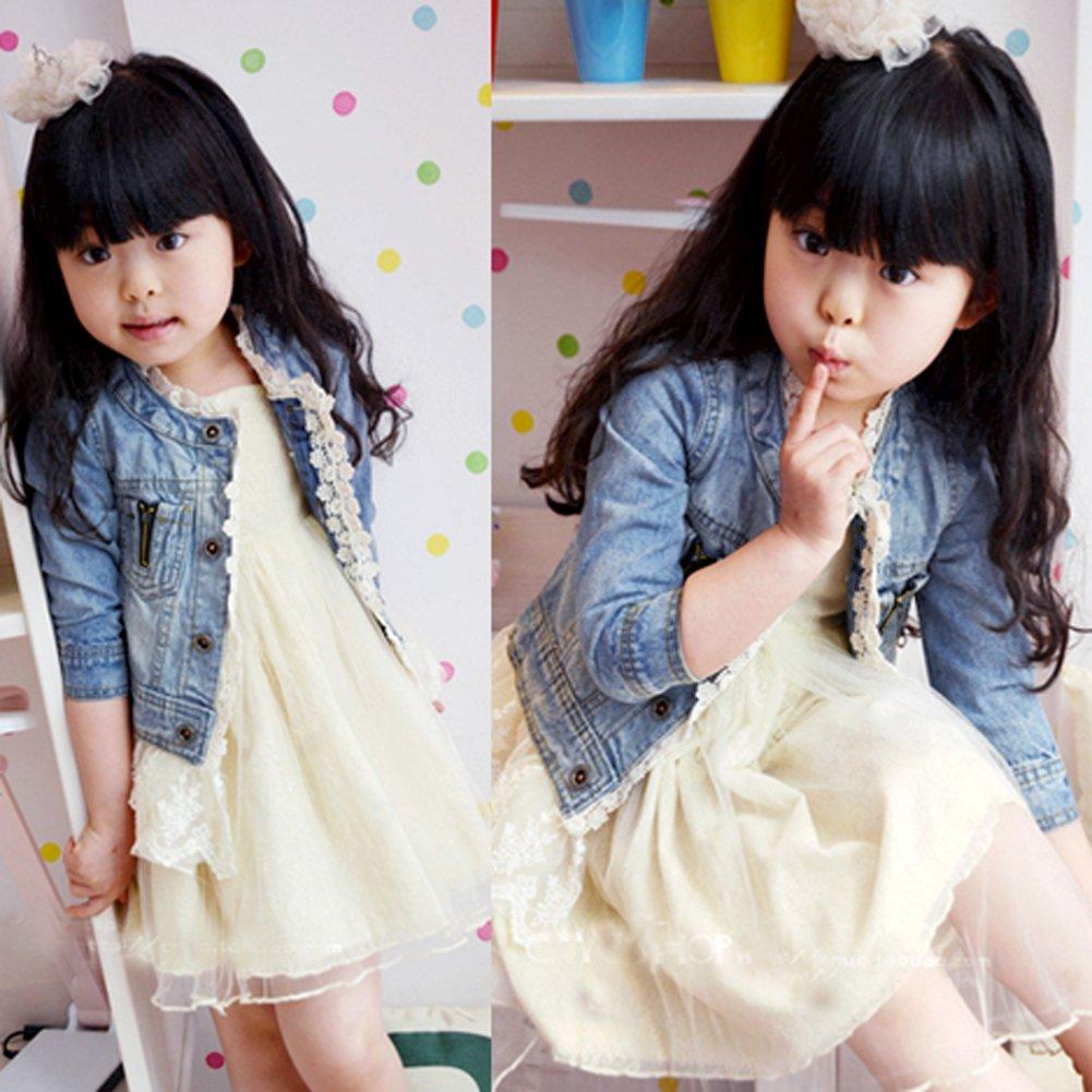 ESHOO M/ädchen Kinder Denim Jean Mantel Jacke Outwear Tops Lace Bottom Cowboy Kleidung 2-7 Jahre