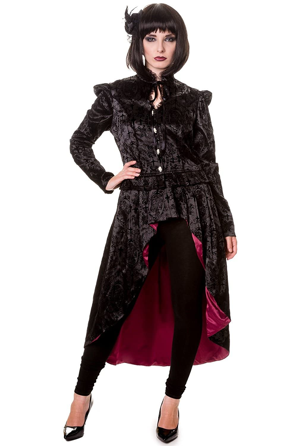 Steampunk Jacket, Coat, Overcoat, Cape Banned Black Gothic Ivy Pattern Long Jacket £59.99 AT vintagedancer.com