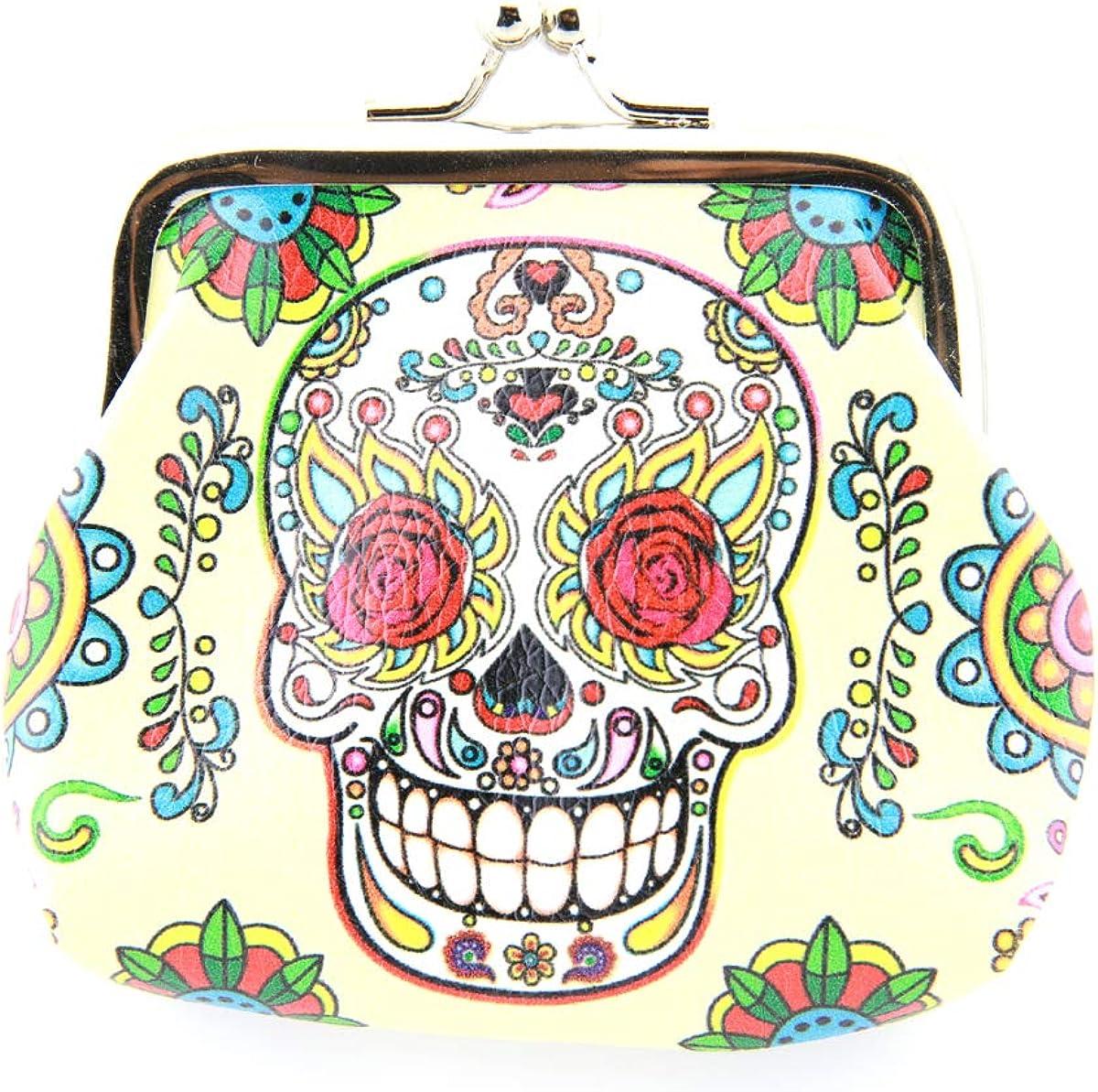 Sugar Skull Dia De Los Muertos Coin Purse Mini Leather Hasp Handbag