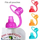 ChooMee Sipn Food Pouch Toppers | 4 CT | Four Colors | Prevent spills and Protect childs mouth while Promoting feeding independence