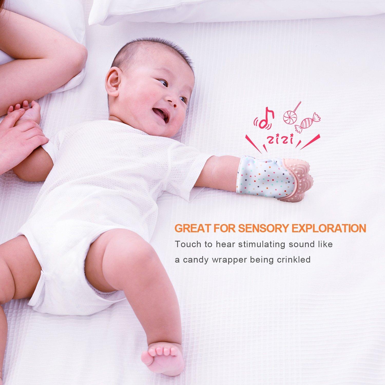 Manopla de dentición para bebé, alivio del dolor, para las encías dolorosas y los dientes de corte y sin BPA, juguete para aliviar el dolor de dentición ...
