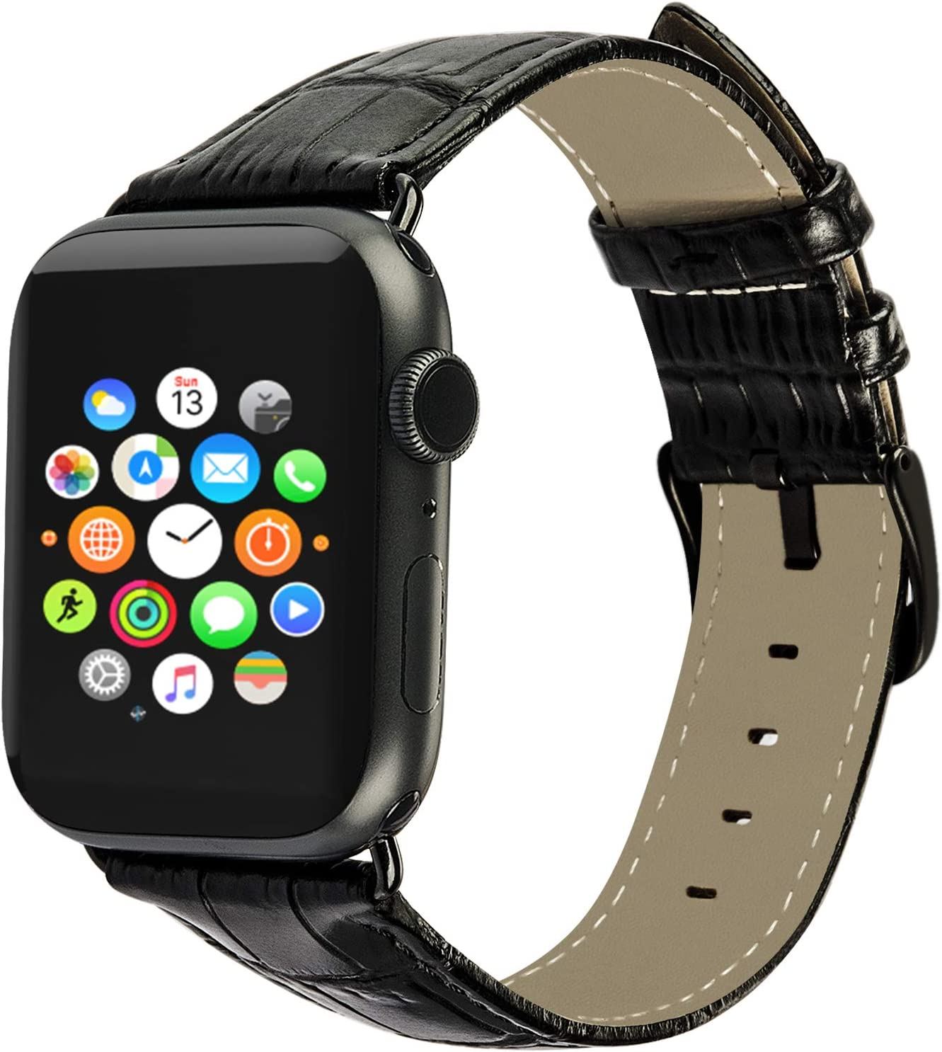 ALADRS Alligator Embossed Leather Watch Strap Compatible with Apple Watch Band 42mm 44mm, Crocodile Grain Wristband Replacement for iWatch Series 6 5 4, SE (44mm) Series 3 2 1 (42mm), Black
