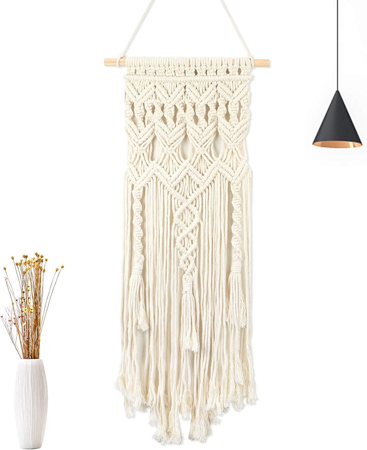 "Macrame Wall Hanging Woven, Purnap Boho Chic Bohemian Home Decoration Handmade, Art Wall Decor Tassel Geometric Pattern with Stick for Home, Living Room, Apartment Room, 13"" x 29.5"""