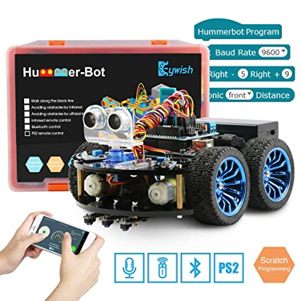 Keywish Smart Robot Car Kit for Arduino Hummer-Bot V1 0 DIY Learning  Kit,4WD Remote Control Car with UNO R3,Tutorial,Bluetooth Modules,Line
