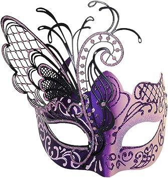 CCUFO Rosa y Morado Flying Butterfly Máscara de Metal Veneciano ...