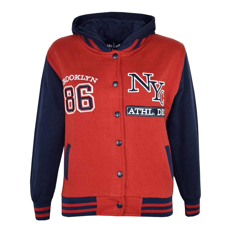 Kids Girls Boys Baseball NYC ATHLETIC Hooded Jacket Varsity Hoodie Age 7-13 Year