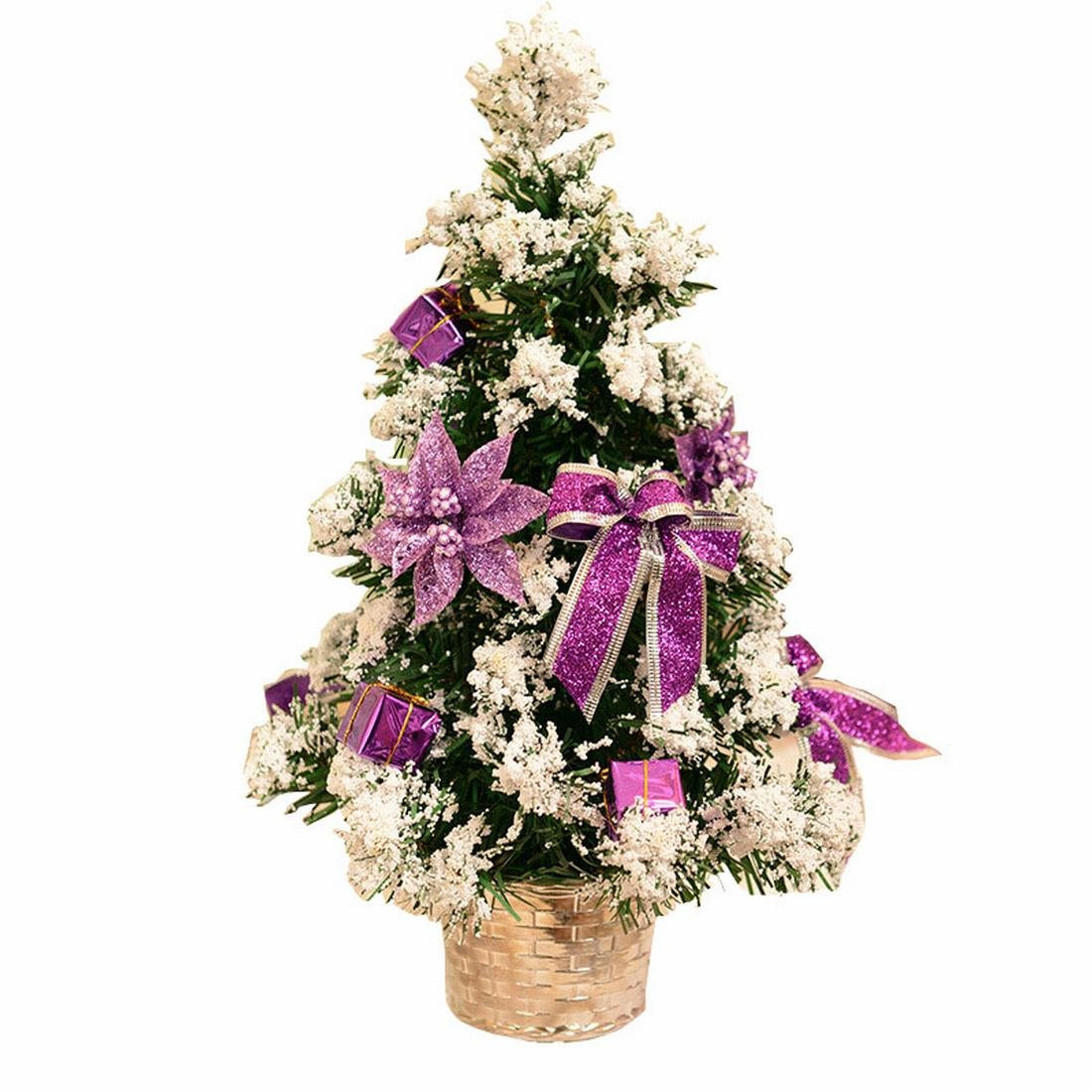 Small Artificial Christmas Tree Decorated Gife Red Berries Ornaments - 16'' Tall Tabletop (Red) (Purple)