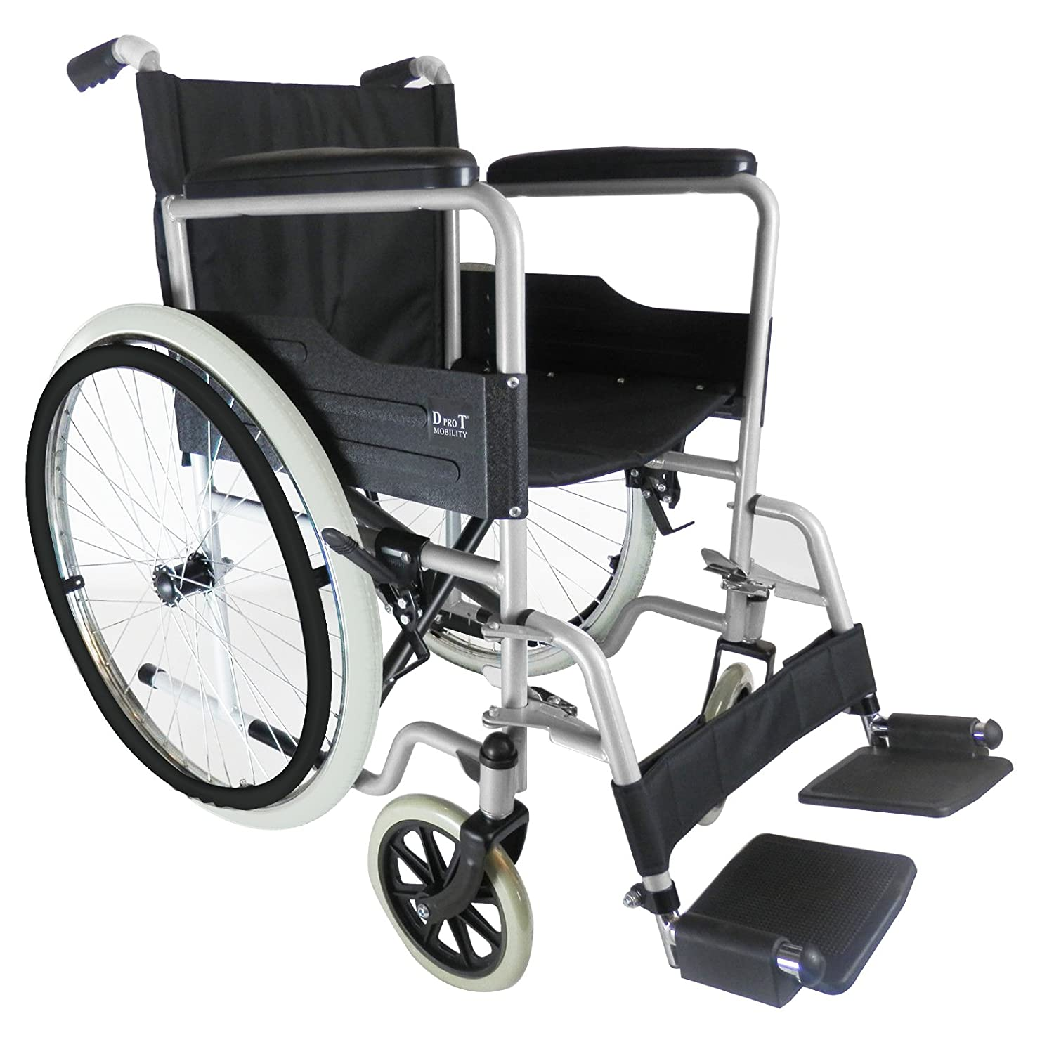 D PRO T extra padded seat Folding Self Propelled Wheelchair Removable  Footrests Puncture Proof With Armrest And Portable (Red)