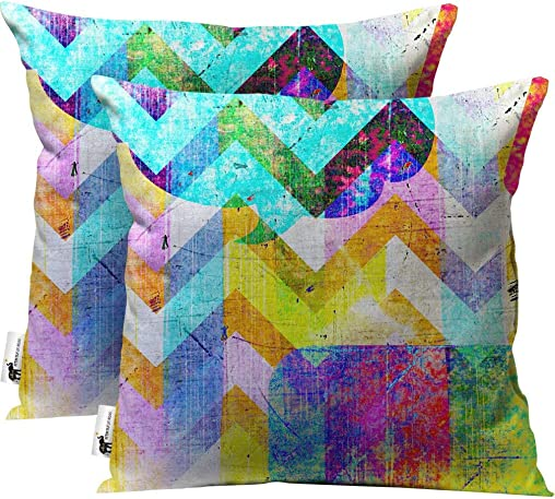 Unique Multicolor Art Outdoor Throw Pillow Modern Eclectic Patio Furniture Pillows – Set of 2 18X18 Cover Only