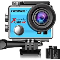 Campark ACT74 Action Cam 16MP 4K WiFi Waterproof Sports Camera 170ー Ultra Wide-Angle Len with SONY Sensor,2 Pcs Rechargeable Batteries and Portable Package (Blue)