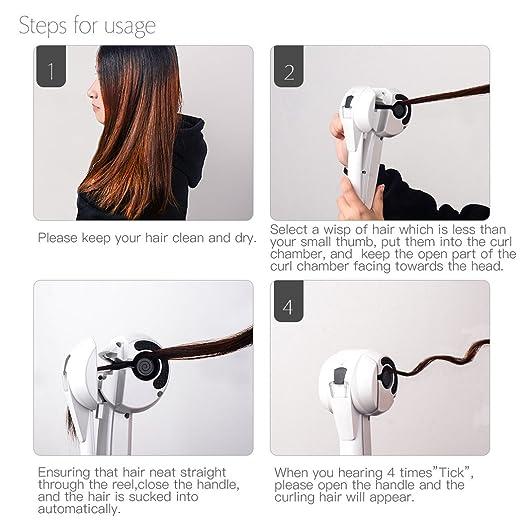 Rizador de Pelo Automático de Vapor, Rizador de Cabello Cerámico, Steam Spray Hair Curler- Con Pantalla LCD+ Voltaje Universal: Amazon.es: Belleza