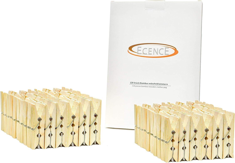 Molle Super Resistenti 14020107 ECENCE Mollette da bucato in bamb/ù 60 x 12.5 x 11mm mollette ecologiche per bucato Clip da bricolage 120pz