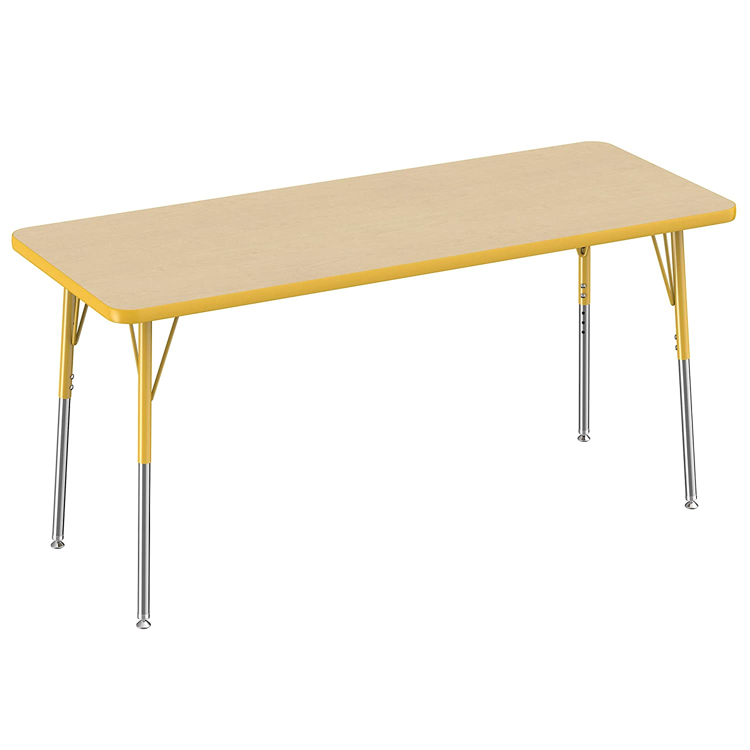 Maple Top And Yellow Edge Adjustable Height 19 30 Inches Standard Legs With Swivel Glides Fdp Rectangle Activity School And Office Table 24 X 60 Inch Classroom Furniture Surclima Office Products