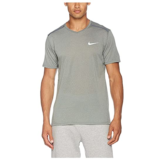 a0c6dc33 Image Unavailable. Image not available for. Color: Nike Men's Dri-Fit  Breathe Short Sleeve Running Shirt-Gray-Small