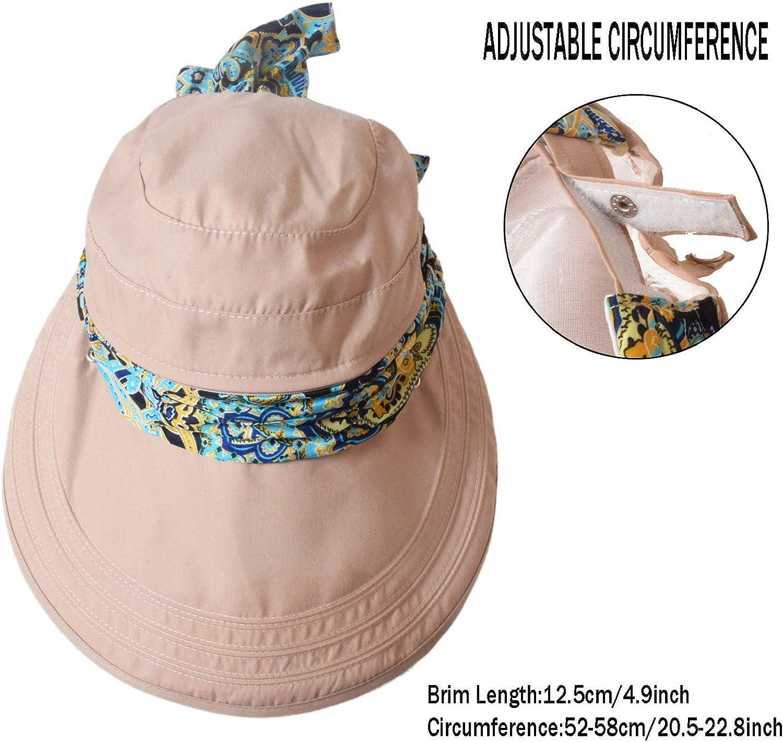 Playa Sol Sombrero con extra/íble Cuello Cara Funda Las Mujeres ala Ancha Floppy Sombreros UPF 50/