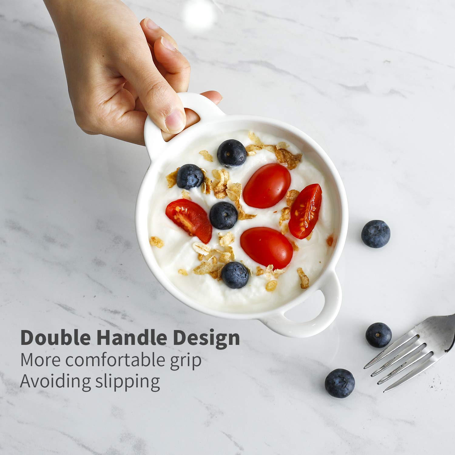 Sweese 5116 Porcelain Ramekins, 5 oz Ramekins for Baking, Round Creme Brulee Dish with Double Handle-Set of 6, White by Sweese (Image #4)