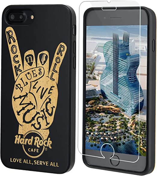 Hard Rock Wood Phone Case Black Compatible with iPhone SE (2020), iPhone 8, 7, 6/6S by iProductsUS Includes Screen Protector, Rock 'N' Roll Shockproof ...
