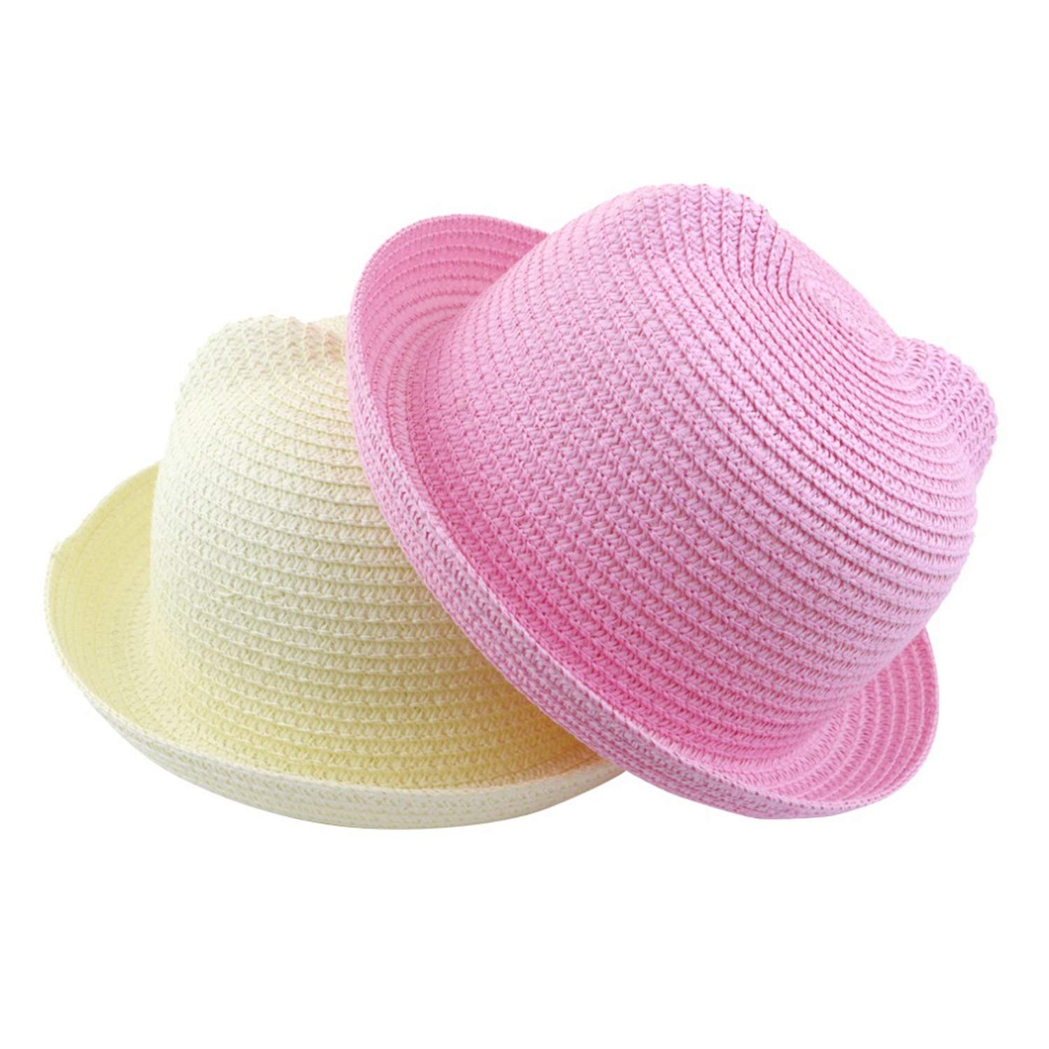2018 Summer Baby Ear Decoration Lovely Children Character Solid Kid Floppy Panama Straw Hats Girls and Boys Sun Hat