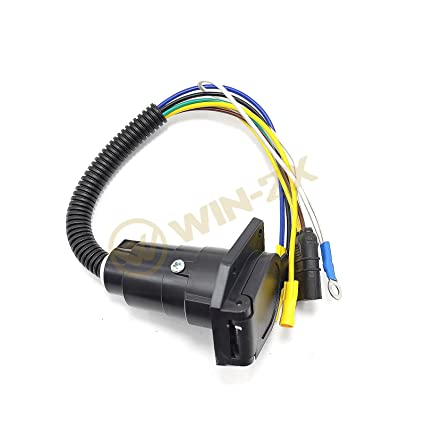 material transport 12v 4 pin flat to 7 pin round rv blade wiring adapter  plug trailer