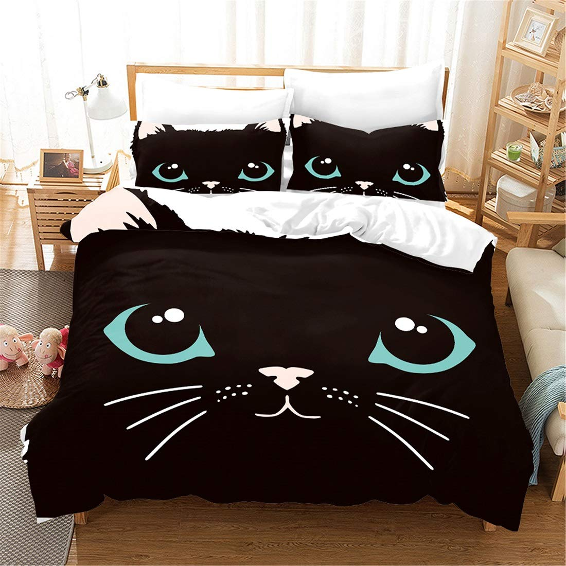 PATATINO MIO Cats Bedding Set Full Size Black Cat Blue Eyes White Ears Cartoon Design Decorative 3 Pieces Duvet Cover Set for Kids Boys Girls 1 Duvet Cover 2 Pillow Sham No Comforter