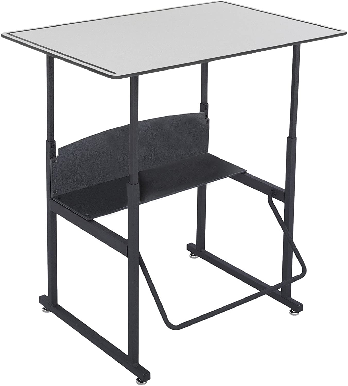 "Safco Products AlphaBetter Adjustable-Height Desk, , 36""W x 24""D Premium Desktop, Swinging Footrest Bar"