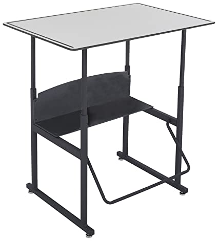 Safco Products 1208GR Alphabetter Stand Up Desk With Swinging Footrest Bar,  36u0026quot; X