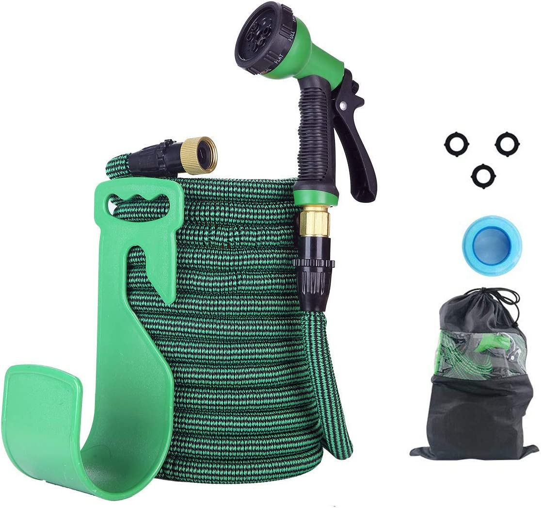 """kingbros 100ft Garden Hose with 10 Function Nozzle, Expandable Water Hose with Standard 3/4"""" Brass Connector, Extra Strength Fabric -Durable Gardening Flexible Hose Pipe"""