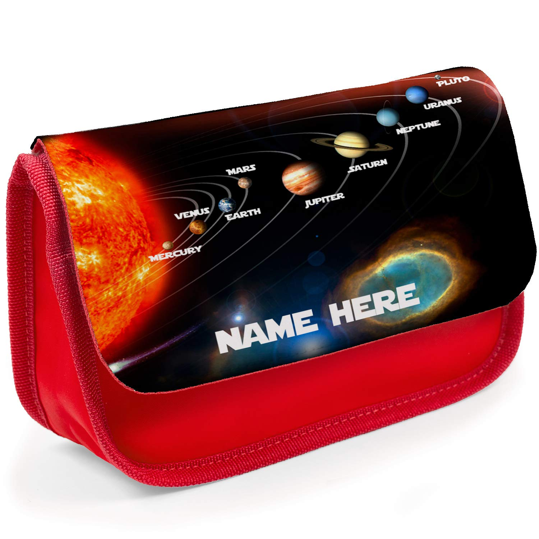 Black Personalised School Pencil Case Space Planet Solar Stationary Bag Girls Boys SH240