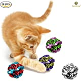 12 Mylar Cat Crinkle Balls by SunGrow : Shiny with Interesting Crinkly Sounds : Keep pets Entertained for hours: Soft, lightweight and fun toy for both Kittens & Adult Cats : Safe for your kitty