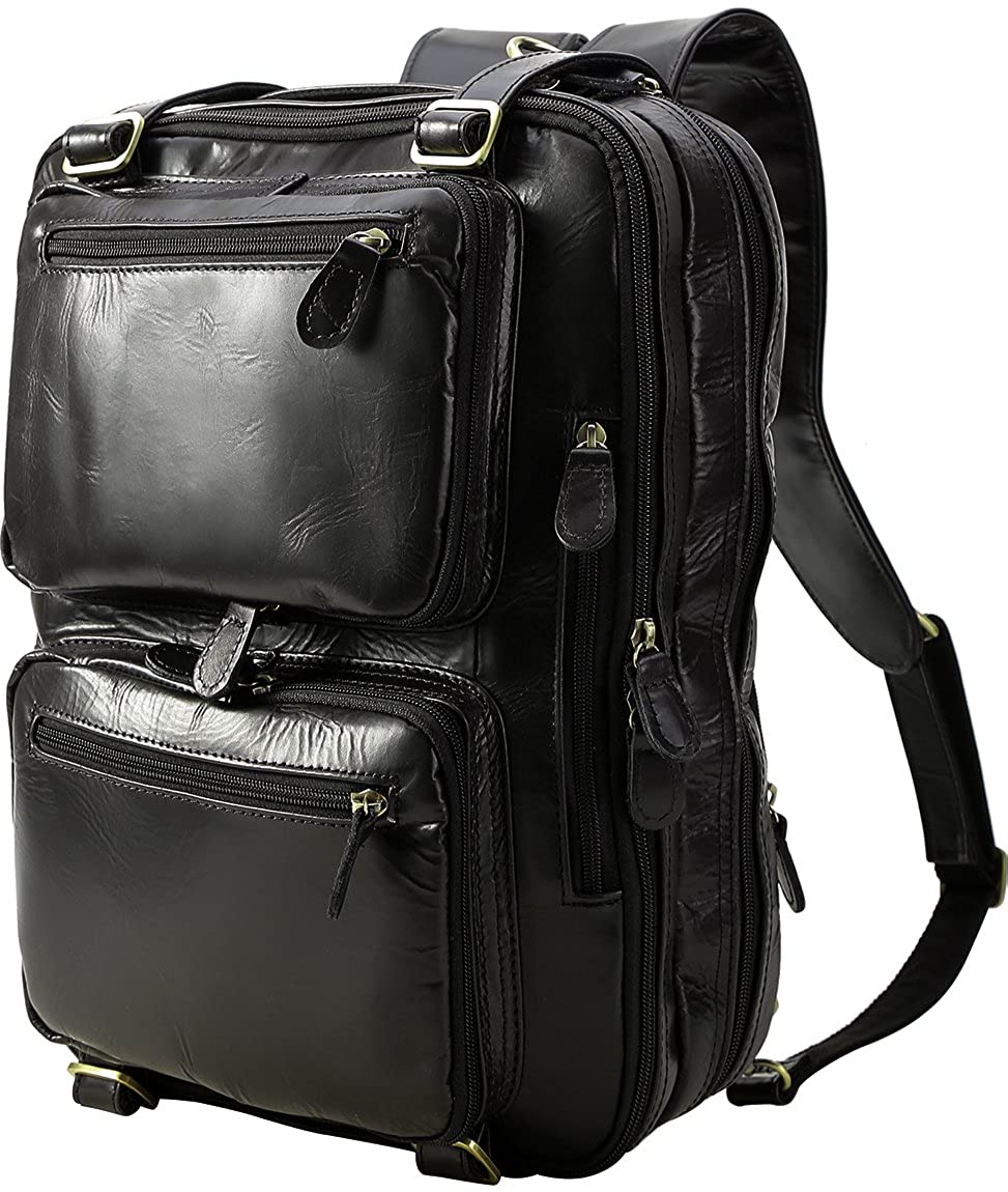 [(チョウギュウ) 潮牛] 3WAY 本革 メンズ リュックサック ビジネスリュック ビジネスバッグ 14PC A4ファイル対応 通勤 出張 B079QSGD7F ブラック