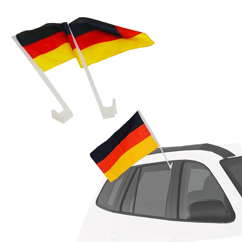 Piersando Autofahne Set 2 St/ück Auto Fahne Fussball EM /& WM L/änderflagge Fanartikel Land Flagge Autoset Deutschland mit Adler