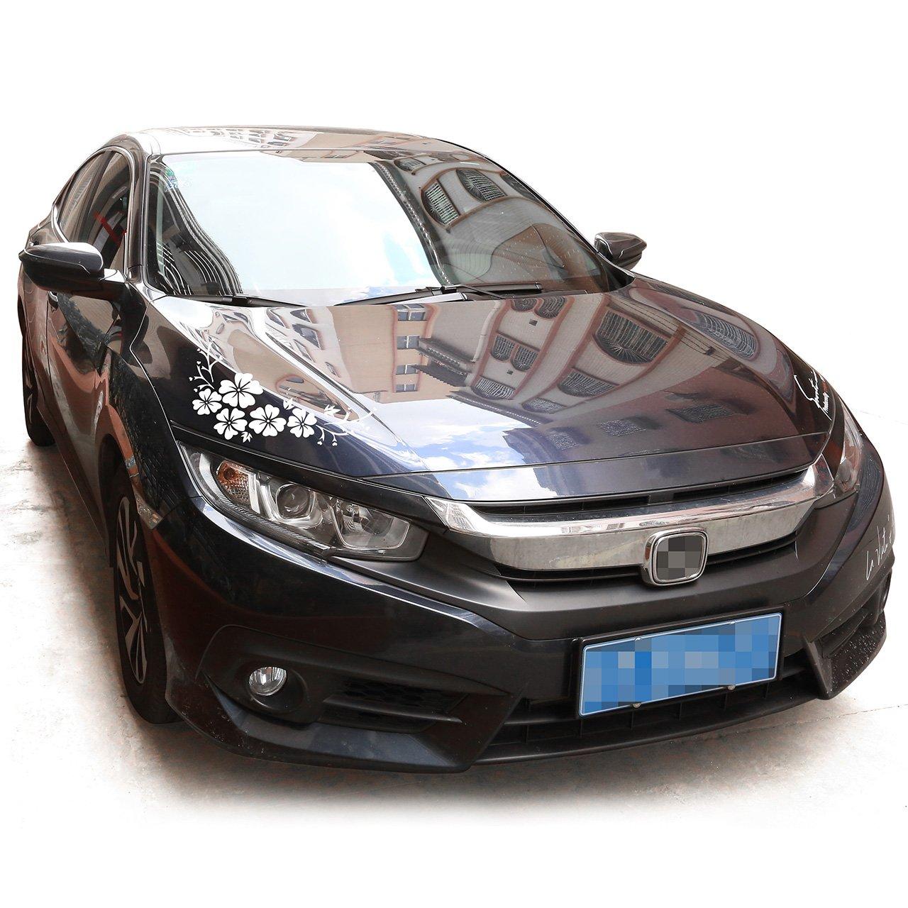 ACBungji Stickers autocollants fleur dhibiscus voiture pare-chocs frigo mur porte Blanc #2