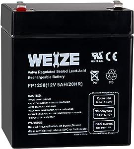 Weize 12V 5AH Lead Acid SLA Rechargeable Battery Replaces 12 Volt 4AH 4.5AH 5AH