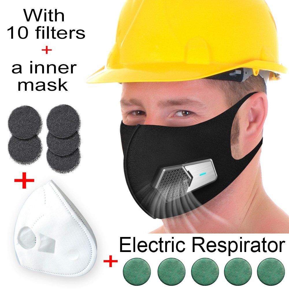 Smart Electric N95 Air Purifying Respirators Dust Mask,Anti Pollution PM2.5 Filters for Pollen Allergy Gas with Exhalation Valve,Professional & Home Use Reusable