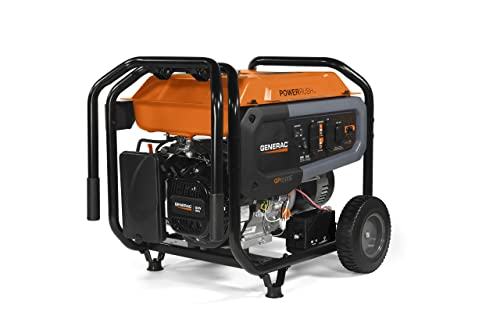 Generac 7682 GP6500E Portable Generator, Orange, Black