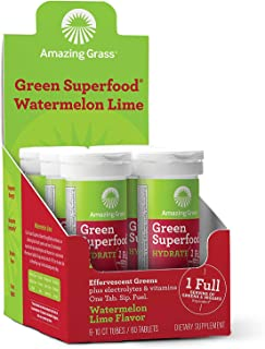 product image for Amazing Grass Effervescent Electrolyte Tablets: Greens + Hydration Water Flavoring Tablet with Vitamins, Watermelon Lime, 60 Count