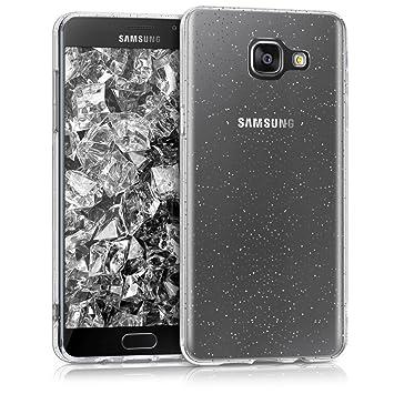 kwmobile Funda para Samsung Galaxy A5 (2016) - Carcasa para móvil de TPU con diseño con Purpurina - Plata/Transparente