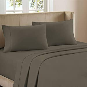 """Purity Home 400 Thread Count 100% Cotton 4 Piece Performance Bed Sheet Set, Luxury Full Sheets Sateen Weave, Low Pill, Low Shrink, Soft & Wrinkle Free, Fitted Sheet Fits Upto 18"""" Deep Pocket, Grey"""