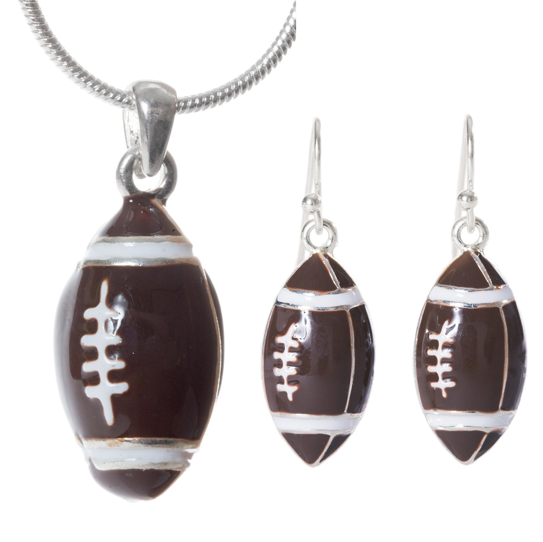 Artisan Owl - Football Pendant Necklace and Earrings Set