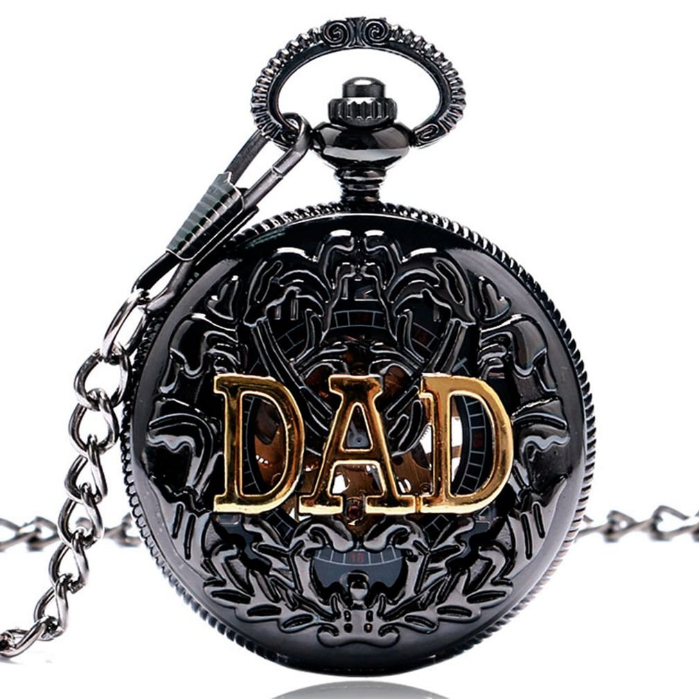 MILIYA Vintage Dad Father Gift Hollow Mechanical Skeleton Pocket Watch with Chain