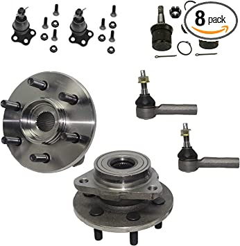 12pc Front Wheel Hub /& Bearing - 4WD NO ABS Inner Outer Tie Rods Detroit Axle Lower Upper Ball Joints Boots for 2000-2004 Dodge Dakota - 2000-2003 Dodge Durango