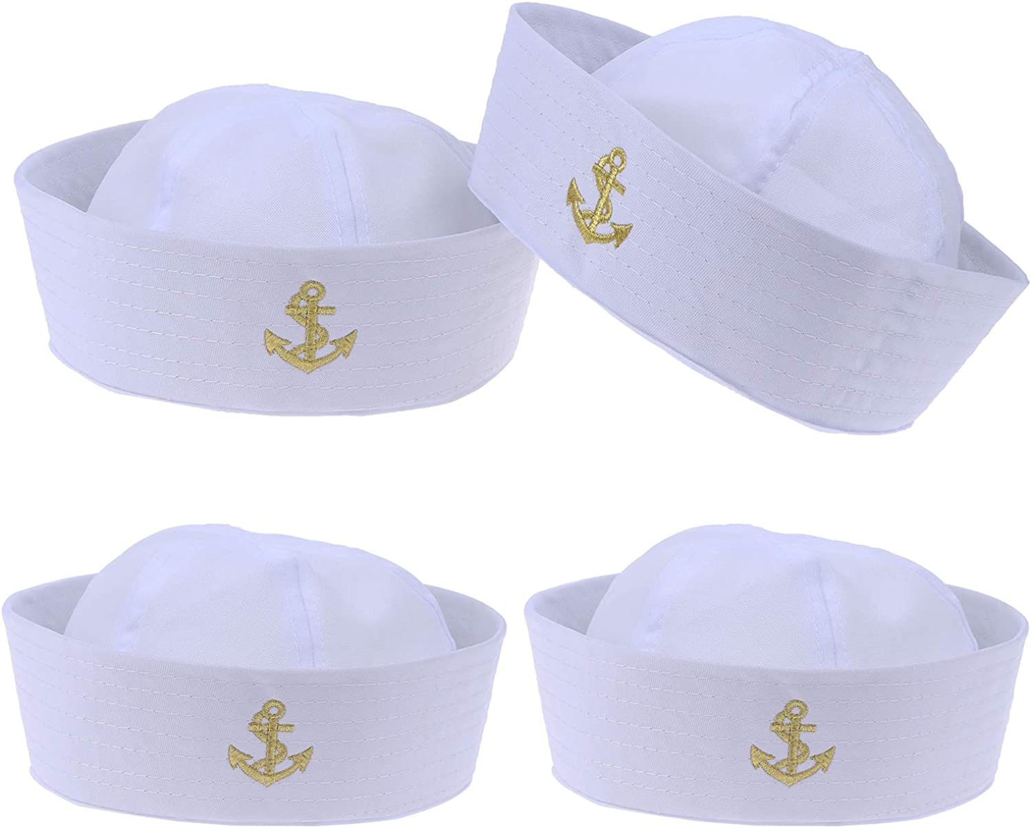 4 Pack White Sailor Caps Adult Yacht Navy Sailor Hats for Sailor Dress Up Holiday Party Cosplay