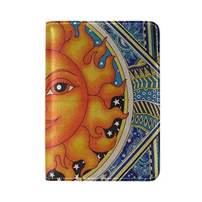 LEISISI Sun And Moon Art Painting Genuine Real Leather Passport Holder Cover Travel Case