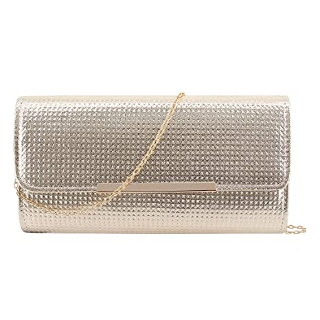 fed6e432d1b1 Naimo Womens Shiny Dazzling Clutch Bag Evening Bag Purse with Detachable  Chain for Wedding Party (Gold)