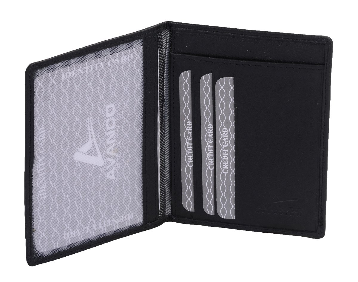 Avanco Men's Leather ID Card Holder 4.7 x 3.5 x 0.2 inch Black 14.01.622