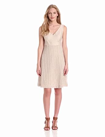 Nine West Dresses Women's Crochet Leaves Empire Waist Dress, Sand Castle, 4