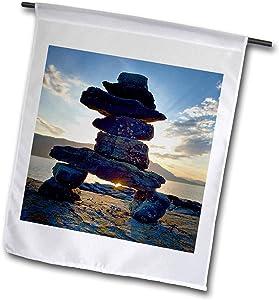 3dRose Danita Delimont - Native American - Canada, British Columbia, Russell Island. Rock Inukshuk. - 12 x 18 inch Garden Flag (fl_313029_1)
